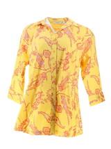 Liz Claiborne NY Button Down Paisley Printed Tunic Yellow Multi 16 NEW A252288 - $29.68