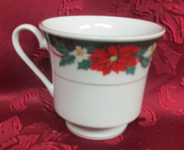 Tienshan Coffee Tea Cup Mug Fine China Poinsettia Pattern White - $4.99
