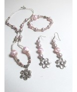 Three Piece Pink and Silver  Beaded Necklace, Earring, Bracelet Set - $9.99