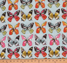 Cotton Flutter Fly Butterflies Insects Cotton Fabric Print by the Yard D... - $11.49