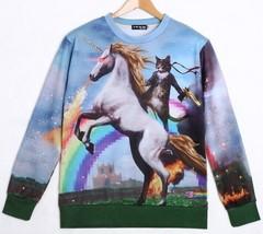 Kawaii Clothing Ropa Sweatshirt Unicorn Cat Rainbow Harajuku Japan Korea Pony - $22.22