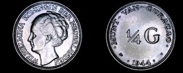 1944-D Curacao 1/4 Gulden World Silver Coin - Wilhelmina I - $19.99