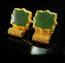 Green Dante Cufflinks Mesh wraps high quality Enamel cuff links mens formal esta - $145.00