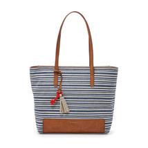 Fossil Madison Blue Stripe Print Linen/Cotton/Fabric Zipper Closure Tote  - $199.99