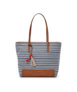 Fossil Madison Blue Stripe Print Linen/Cotton/Fabric Zipper Closure Tote  - $246.55 CAD