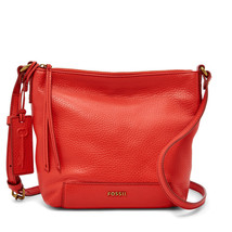 Fossil Madison Tomato Leather/Cotton Interior Zipper Closure Crossbody - $199.99