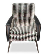 Fabulous Linen/Leather Houdstooth Black & White Arm Chair,29''L X 35''H. - $688.05