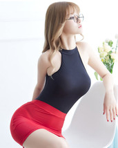 97L004 Sexy Body-building perspective clothes, teddy & skirt,free size,black/red - $38.80