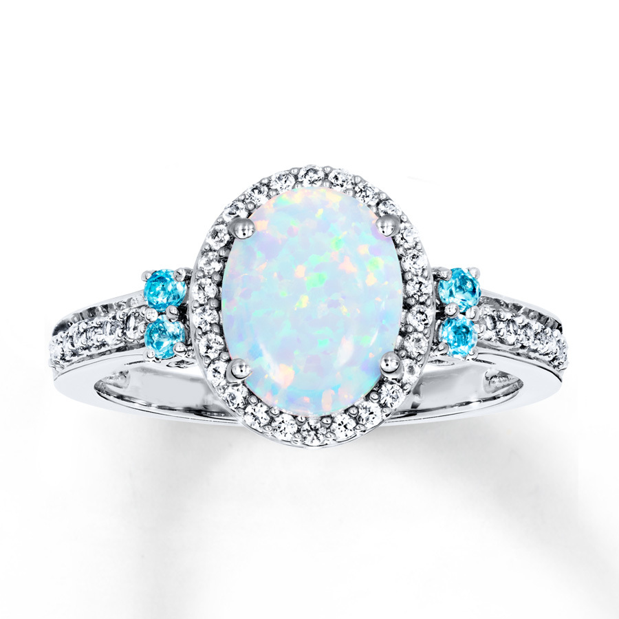Primary image for Anniversary Gift Opal Stone Oval Cut Womens Engagement Ring Solid 10k White Gold