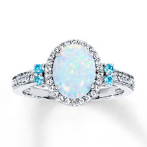 Anniversary Gift Opal Stone Oval Cut Womens Engagement Ring Solid 10k Wh... - €370,87 EUR