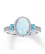Anniversary Gift Opal Stone Oval Cut Womens Engagement Ring Solid 10k Wh... - $399.99