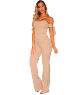 Apricot Off Shoulder Tie Knot Strapless Jumpsuit  - $23.00