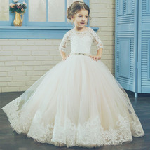 Half Sleeve White Lace Pricess Flower Girls Dress 2018 Beaded Little Gir... - $120.00