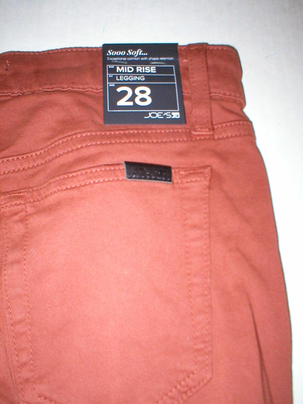 Womens New Designer NWT Joes Denim Jeans 28 Legging Brick Dust Dark Orange Soft image 5