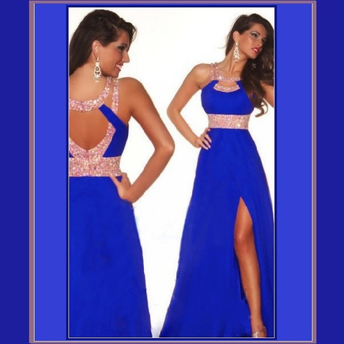 Sapphire Blue Sequined Strap and Sequined Empire Waist Fully Lined w/ Leg Split