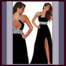 Black Sequined Strap and Sequined Empire Waist Fully Lined w/ Leg Split