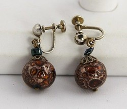 30s DECO Jewelry COPPER FOIL & MICA Art Glass VENETIAN MURANO Dangle EAR... - $15.00