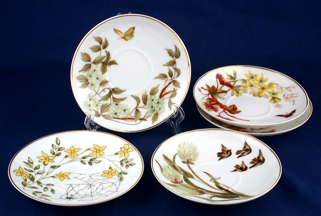 Primary image for 5 H&Co Hand Painted Saucers Limoges Flowers Butterfly Birds All Unique