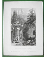CONSTANTINOPLE Tomb in Cemetery of Scutari - BA... - $19.78