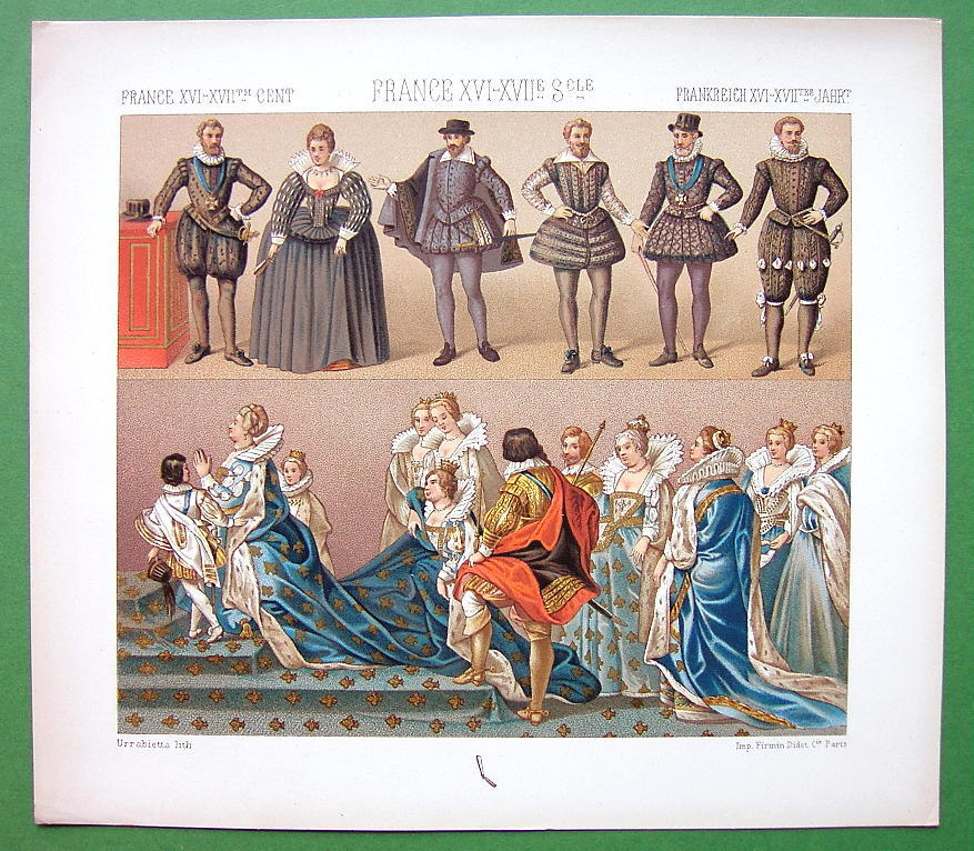 FRANCE Costume of Kings Queens 16th 17th C - COLOR Antiqe Print  A. RACINET