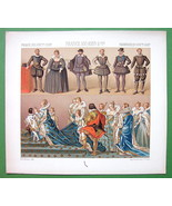 FRANCE Costume of Kings Queens 16th 17th C - COLOR Antiqe Print  A. RACINET - $9.90