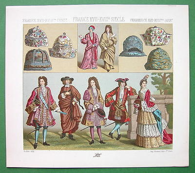 FRANCE Royalty Fashion 17th 18th Century - COLOR Antiqe Print  A. RACINET