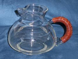 Vintage Clear Pitcher Wicker Handle Mid Century Modern Handmade Blown Gl... - $34.99