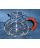 Vintage Clear Pitcher Wicker Handle Mid Century... - $34.99