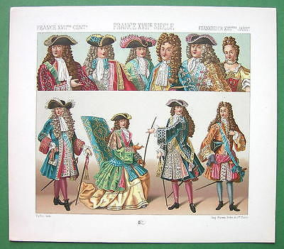 FRANCE Costume of Nobility King Louis XIV etc - COLOR Antiqe Print  A. RACINET