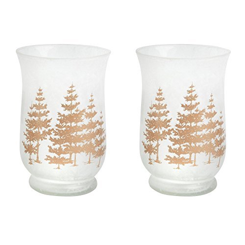"Nantucket Home 6"" Gold Snow Trees Frosted Glass Hurricane Tealight Candle Holder"