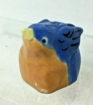 Handmade Pottery Fat Little Bird Birthday Candleholder Blue & Orange T55 - $12.38