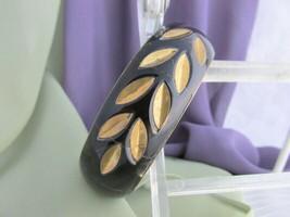 Vintage Dramatic Black & Gold Inlaid Wide Bangle Bracelet Brass Signed I... - $10.80