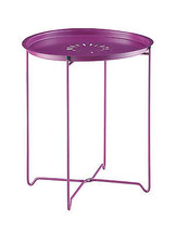 Midcentury design metal snack tray table in purple with removable top  - $24.53