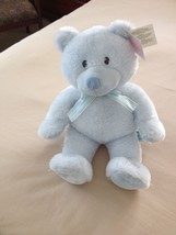 RUSS baby LIGHT BLUE TEDDY BEAR BLUE AND YELLOW RIBBON ON NECK NEW TAG $... - $12.86