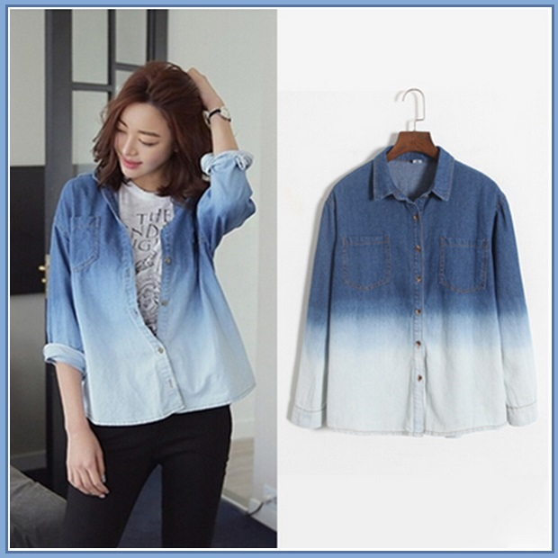 Faded Wash Denim Button Down Long Sleeved Gradient Blue Jeans Shirt