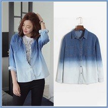 Faded Wash Denim Button Down Long Sleeved Gradient Blue Jeans Shirt - $49.95