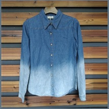 Faded Wash Denim Button Down Long Sleeved Gradient Blue Jeans Shirt image 2