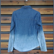 Faded Wash Denim Button Down Long Sleeved Gradient Blue Jeans Shirt image 3