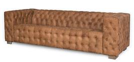"97"" Restoration Style Sofa Vintage Tan Soft Italian Top Grain  Tufted Leather - $2,920.50"