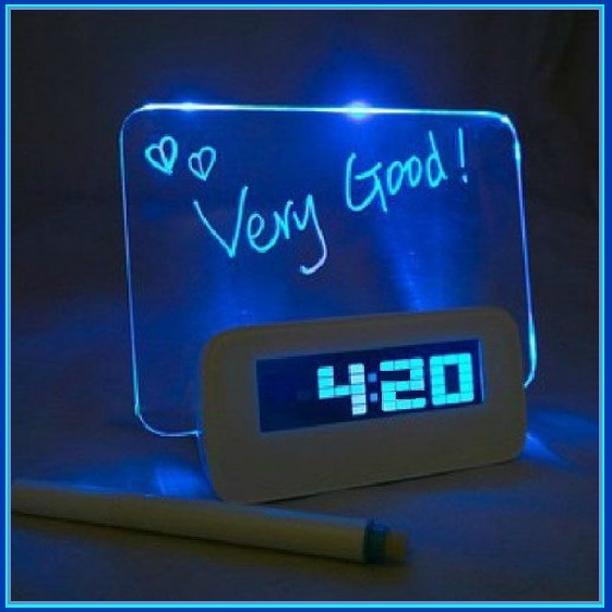 Blue LED Fluorescent Board  - Write a  Message -  Digital Alarm Clock Light