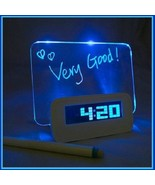 Blue LED Fluorescent Board  - Write a  Message -  Digital Alarm Clock Light - $31.95