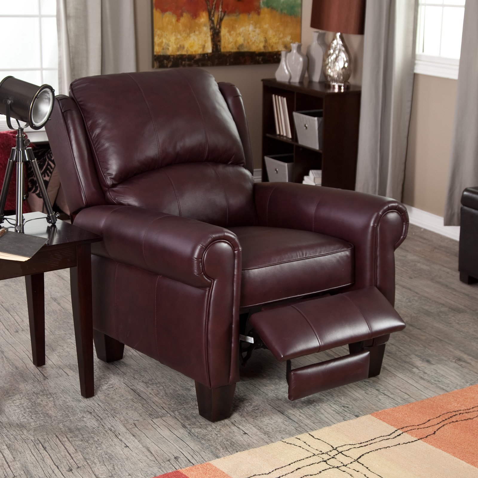 Leather Recliner Chair Home Burgundy Push Back Wingback