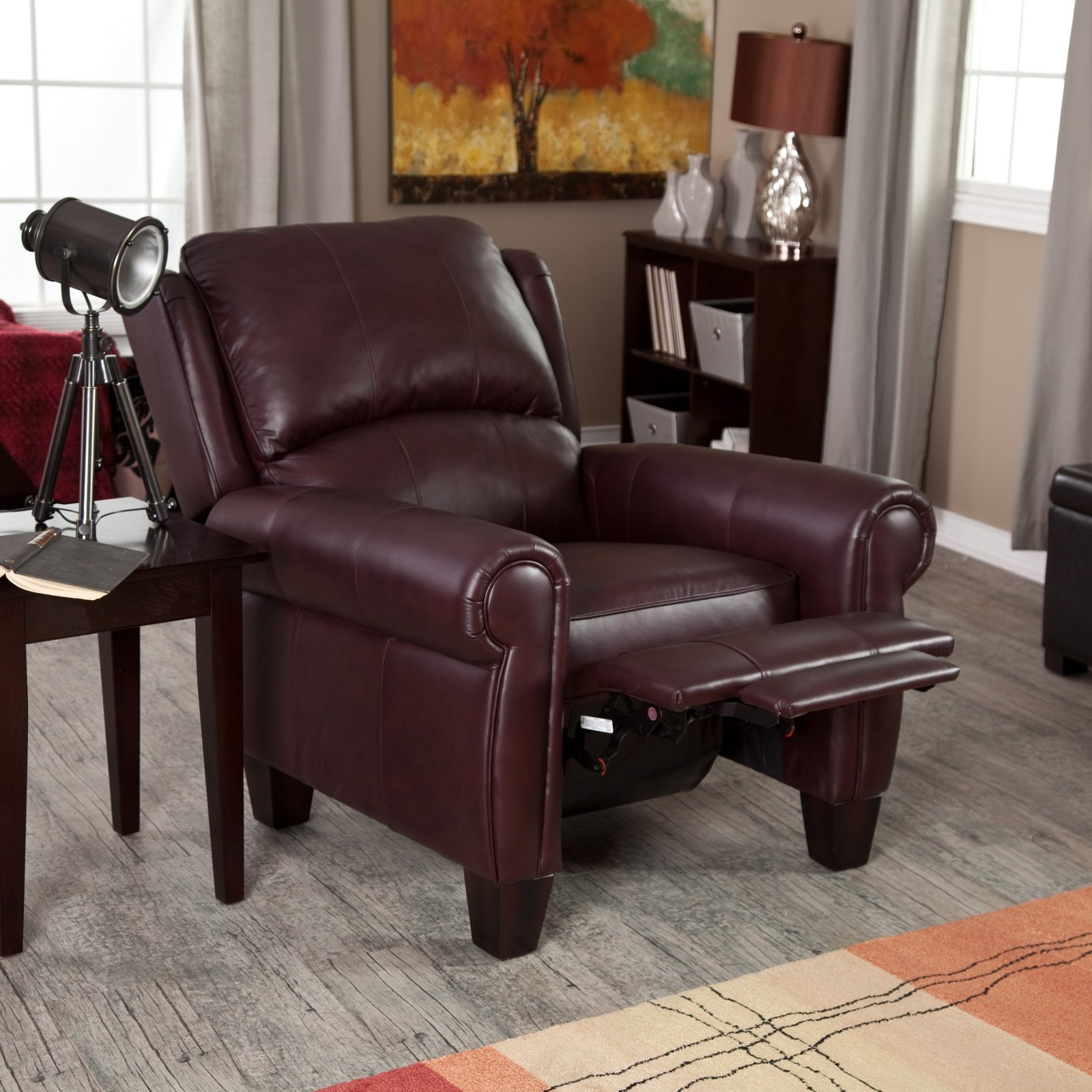 Leather recliner chair home burgundy push back wingback for Wing back recliner chair