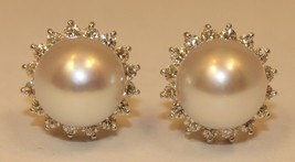 1ct VS1 G Color Round Cut Diamond & Culture Pearl 18K Solid White Gold Earrings - $2,398.75