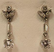 Estate 1.60ct VS2 G Color Round & Baguette Cut Diamond 18K White Gold Earrings - $3,809.25