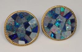 Vintage Estate Mosaic Opal 14k Yellow Gold Omega Back Earrings - $627.38