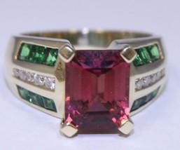 7ct Pink Tourmaline Emerald Cut Peridot & Diamond 14K Yellow Gold Ring - £1,293.15 GBP