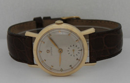 Vintage Omega Hand-Winding 14K Yellow Gold 35mm Silver Dial 35mm Watch - $1,249.75