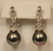Genuine Tahitian Pearl .35ct SI1 G Color Diamond 18K Solid White Gold Earrings - $1,489.13