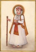 Maharajah Indian Miniature Painting Handmade Watercolor Ethnic Folk Deco... - $114.99